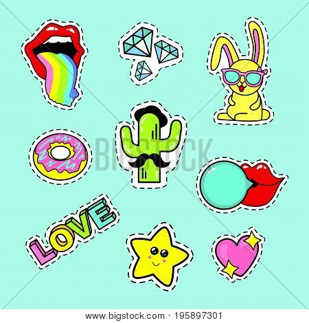 Fashion patch badges with lips rainbow glasses donut diamond speech bubbles love rabbit cactus heart love and other elements. Very large set of girlish stickers patches in cartoon isolated