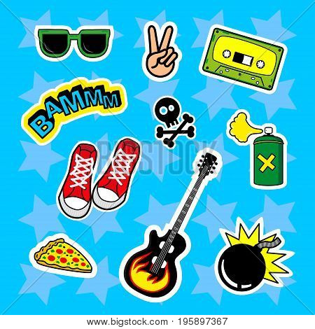 Fashion patch badges with speech bubbles skull Audiocassette love boom glasses peace bomb guitar pizza Sneakers and other. Very large set of girlish stickers patches in cartoon isolated