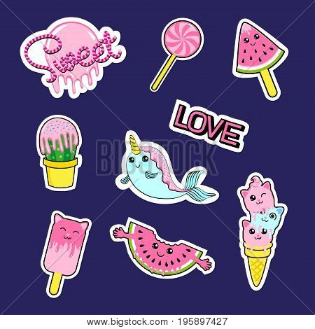 Fashion patch badges with candies watermelon love cactus seal ice cream kittens cats eyes and other. Very large set of girlish and boyish stickers patches in cartoon isolated
