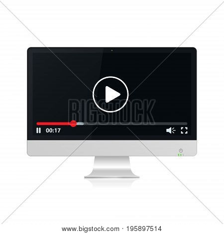 Video player on realistic pc computer monitor vector illustration.