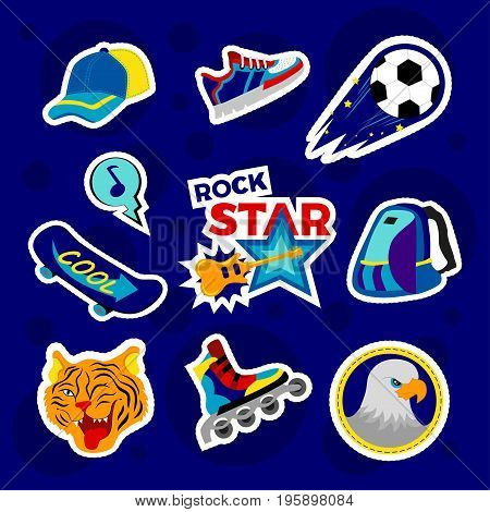 Fashion patch badges with backpack rollers ball baseball cap board and other. Very large set of girlish and boyish stickers patches in cartoon isolated.Trendy print for backpacks things clothes