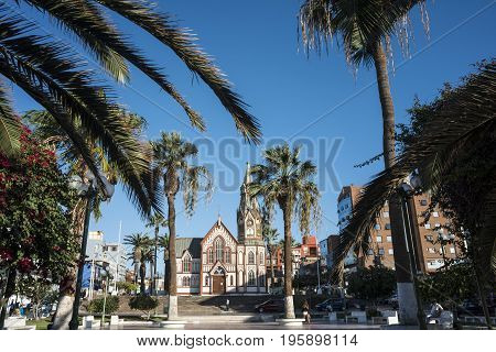 Arica northern Chile - March 31 2015: The Gothic-style Saint Marks Cathedral (Iglesia San Marcos) by Gustave Eiffel which was an all-metal prefabricated building manufactured in France and shipped to South America in pieces to be assembled on site in 1870