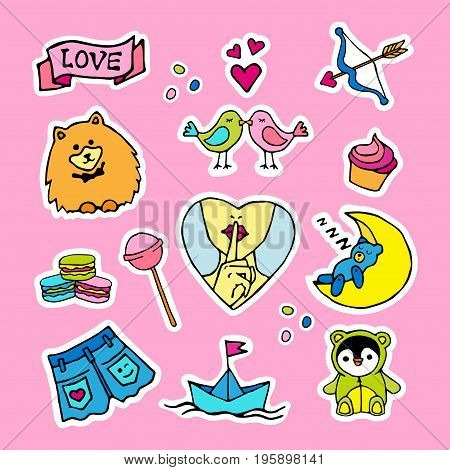 Fashion patch badges with birds cupcakes sweets bear jeans shorts and other. Very large set of girlish and boyish stickers patches in cartoon isolated.Trendy print for backpacks things clothes