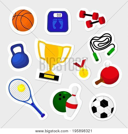Fashion patch badges with cup tennis ball soccer basketball medal and other. Very large set of girlish and boyish stickers patches in cartoon isolated.Trendy print for backpacks things clothes