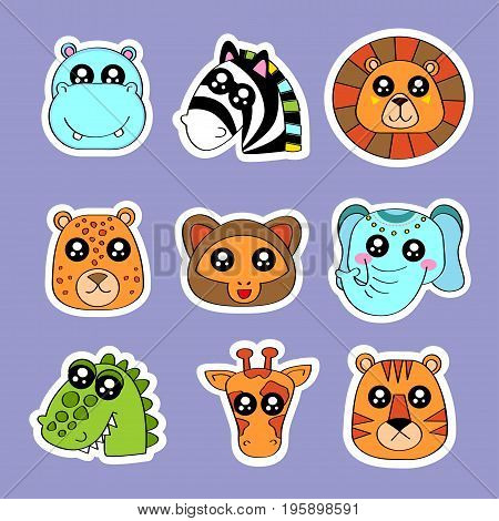 Fashion patch badges with zebra lion tiger monkey elephant giraffe and other. Very large set of girlish and boyish stickers patches in cartoon isolated.Trendy print for backpacks thingsclothes