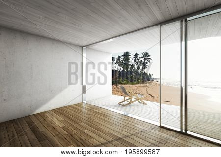 Large terrace in modern house by the sea with deck chair. 3D illustration.