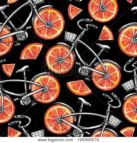 Watercolor seamless pattern bicycles with grapefruit wheels. Colorful summer background. Original hand drawn illustration. Healthy food. Lifestyle and sport.
