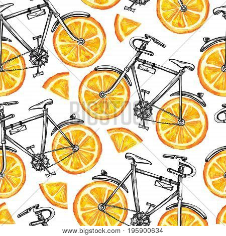 Watercolor seamless pattern bicycles with orange wheels. Colorful summer background. Original hand drawn illustration. Healthy food. Lifestyle and sport.