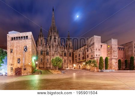 Cathedral of the Holy Cross and Saint Eulalia in the moonlit night, Barri Gothic Quarter in Barcelona, Catalonia, Spain