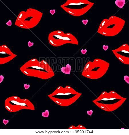 Female Lips. Mouth With A Kiss, Smile, Tongue, Teeth, Hearts On Background. Vector Comic Seamless Pa