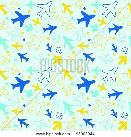 Kids seamless pattern with color planes arrows and stars..Hand drawn planes and arrows doodle style. .Simple background for decoration..Vector illustration for boys.
