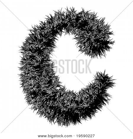 High resolution 3D black and white font isolated on white background