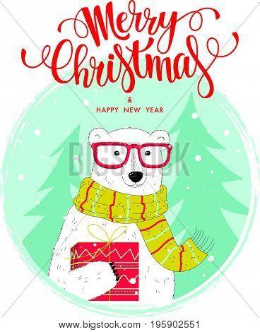 Christmas And New Year Card With A Nice Polar Bear