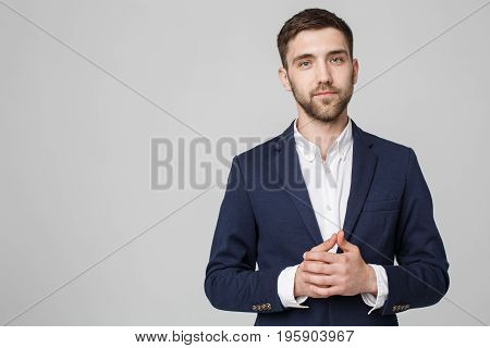 Business Concept - Portrait Handsome Business man holding hand with confident face. White Background. Copy Space.
