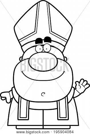 Waving Cartoon Pope