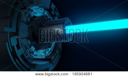 Abstract Futuristic Background Of Digital Technology With A Blue Laser. 3D Illustration