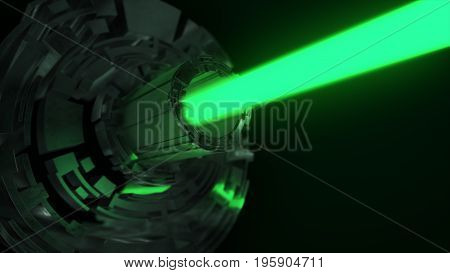 Abstract Futuristic Background Of Digital Technology With A Green Laser. 3D Illustration