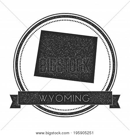 Wyoming Vector Map Stamp. Retro Distressed Insignia With Us State Map. Hipster Round Rubber Stamp Wi