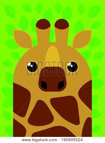 Vector illustration cartoon giraffe. Cute giraffe character.