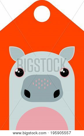 Vector cartoon hippo. Tag with cute hippo character.