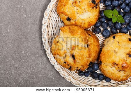 Homemade Wild Blueberry Scones Pastry. Selective focus.