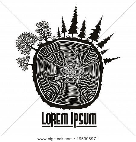 Wood stump emblem, Saw cut of tree trunk with forest trees. vector