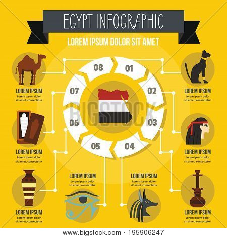 Egypt infographic banner concept. Flat illustration of Egypt infographic vector poster concept for web