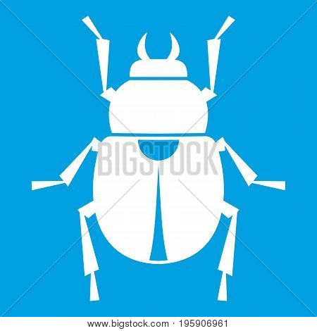 Scarab icon white isolated on blue background vector illustration