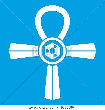 Egypt Ankh symbol icon white isolated on blue background vector illustration