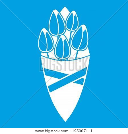 Bouquet of tulip flowers icon white isolated on blue background vector illustration