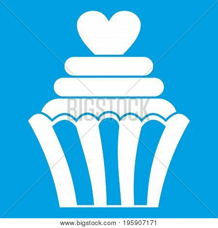 Love cupcake icon white isolated on blue background vector illustration