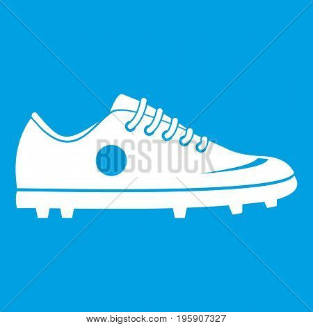 Soccer shoe icon white isolated on blue background vector illustration