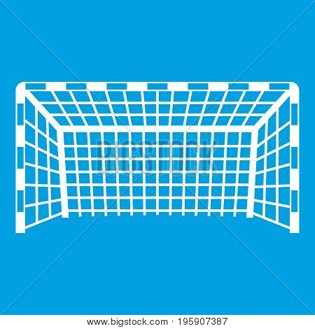 Goal post icon white isolated on blue background vector illustration