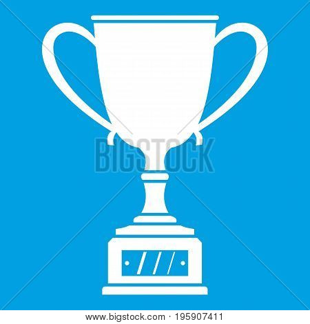 Winner cup icon white isolated on blue background vector illustration
