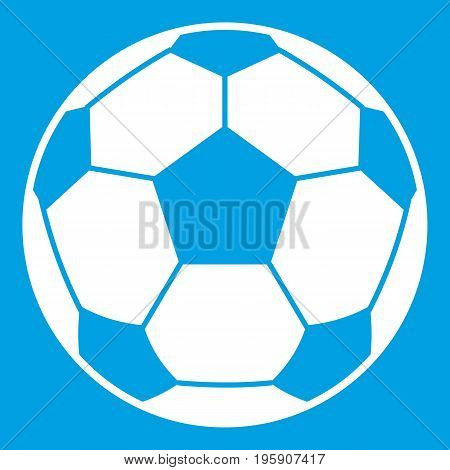 Football soccer ball icon white isolated on blue background vector illustration