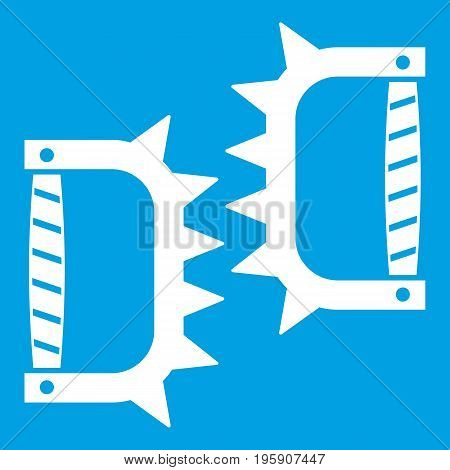 Knuckles with spikes icon white isolated on blue background vector illustration