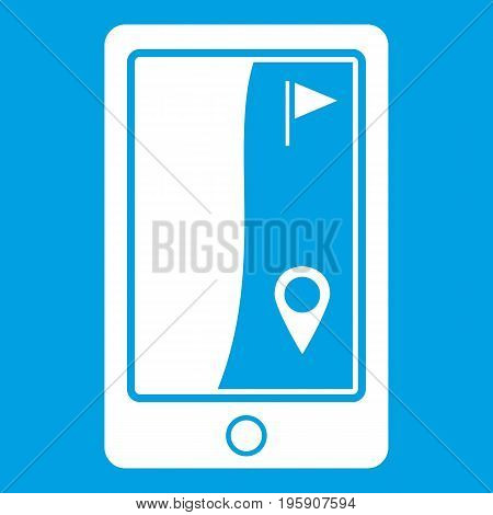 Golf course navigator icon white isolated on blue background vector illustration