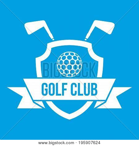 Golf club emblem icon white isolated on blue background vector illustration