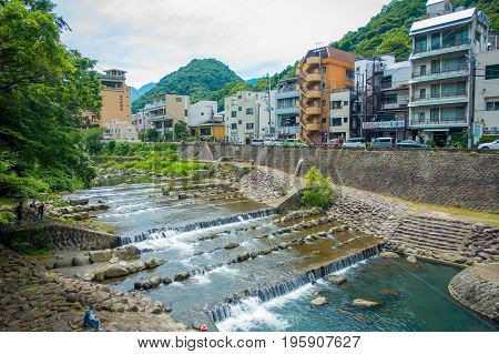 HAKONE, JAPAN - JULY 02, 2017: Beautiful view of river with a Hakone Town background.