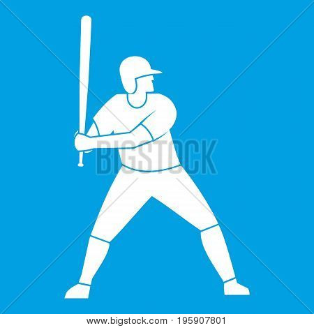Baseball player with bat icon white isolated on blue background vector illustration