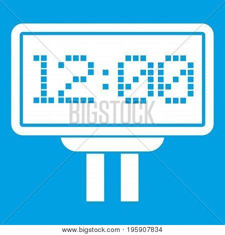 Scoreboard icon white isolated on blue background vector illustration