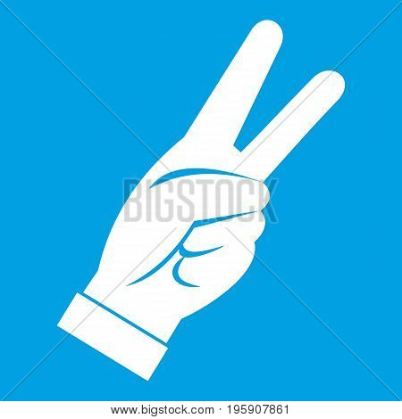 Hand showing victory sign icon white isolated on blue background vector illustration