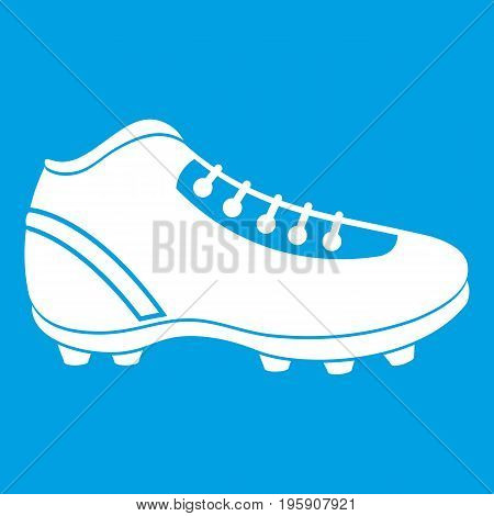 Baseball cleat icon white isolated on blue background vector illustration