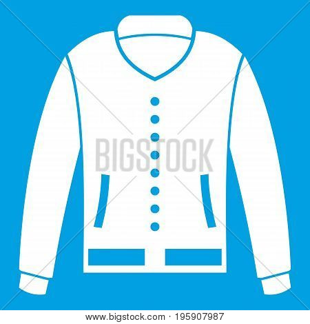 Jacket icon white isolated on blue background vector illustration