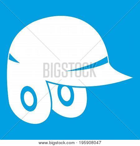 Baseball helmet icon white isolated on blue background vector illustration