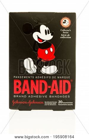 Winneconne WI - 15 July 2017: A box of Band-Aids featuring Mickey Mouse on an isolated background.