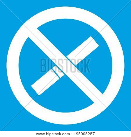 Sign prohibiting smoking icon white isolated on blue background vector illustration