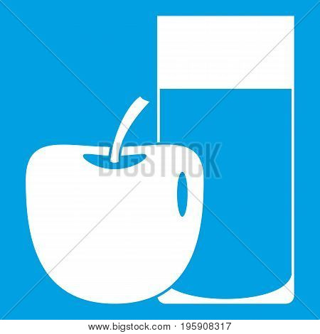 Glass of drink and apple icon white isolated on blue background vector illustration