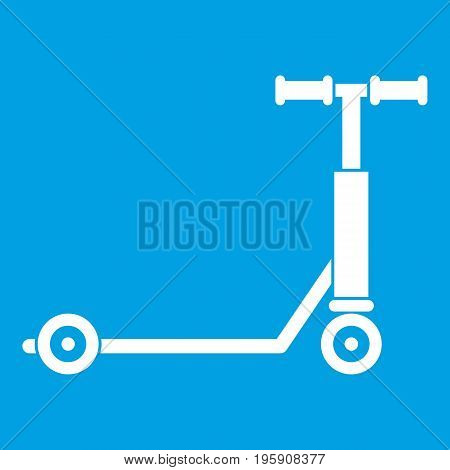 Scooter icon white isolated on blue background vector illustration