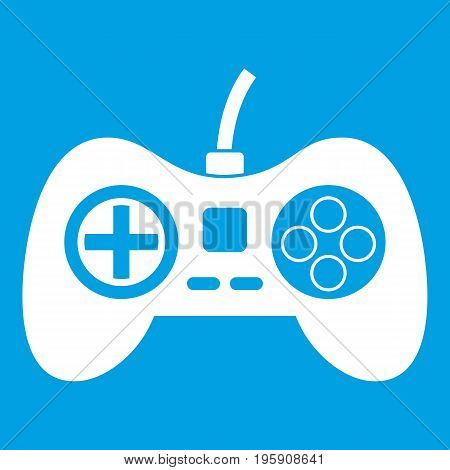 Video game console controller icon white isolated on blue background vector illustration